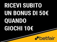 bonus betfair casino 25€ senza deposito