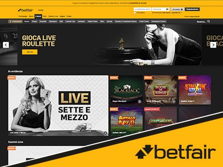 homepage del casino online Betfair