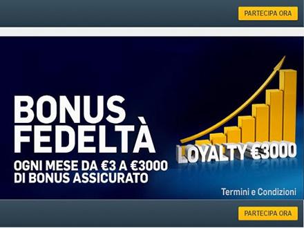 Bonus Fedeltà Loyalty €3000 Betfair