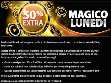 50% extra magico lunedi di casino.com
