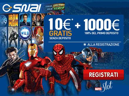 Bonus SNAI casino: 10€ senza deposito gratis