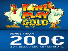 su snai 50€ di bonus a settimana alla slot Fowl Play Gold