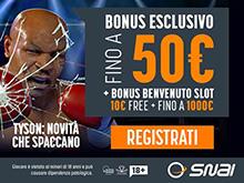 15€ gratis da SNAI per i giochi di Tyson