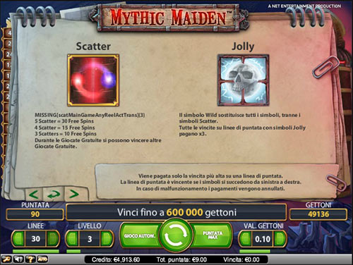 le possibili vincite in Mythic Maiden